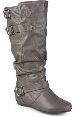 Brinley Co. Women's Extra Wide Calf Buckle Slouch Low-wedge Boots