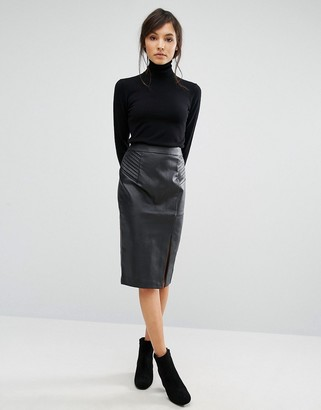 Oasis Faux Leather Pintuck Wrap Pencil Skirt $58 thestylecure.com
