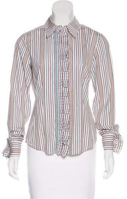 Rena Lange Striped Button-Up Top