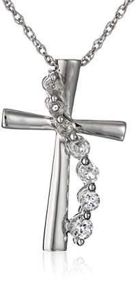 Sterling Silver Created White Sapphire and Created Sapphire Cross Pendant Necklace