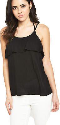 Vero Moda Crinkla Frill Top In Black Size XS