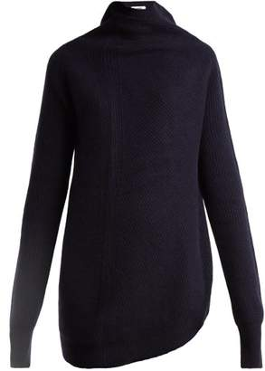 Jil Sander - Twisted Side Wool And Cashmere Blend Sweater - Womens - Dark Blue
