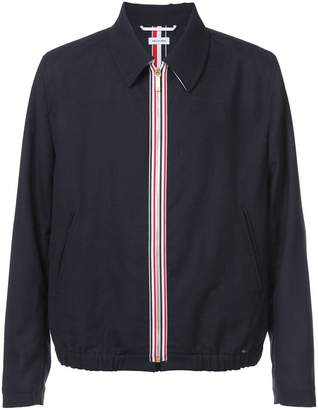 Thom Browne Double Welt Pocket Zip Up Elastic Hem Golf Jacket With Exposed Zipper Tape In 2 Ply Fresco