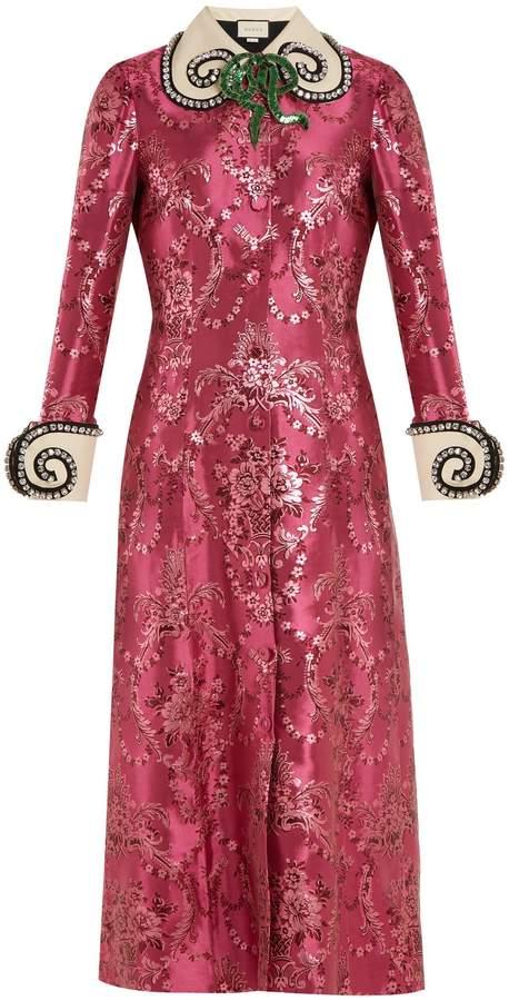 GUCCI Crystal-embellished floral-jacquard midi dress