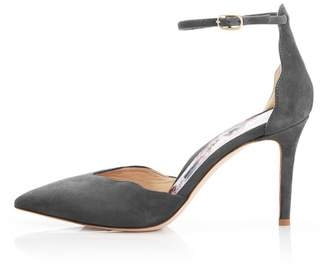 Marion Parke Mara | Suede Pointy Toe Ankle Strap Pump With Scalloped Edge