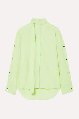 Cédric Charlier Pussy-bow Crepe De Chine Blouse - Sage green