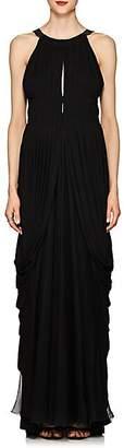 Alberta Ferretti Women's Draped Chiffon Cutout-Back Gown - Black