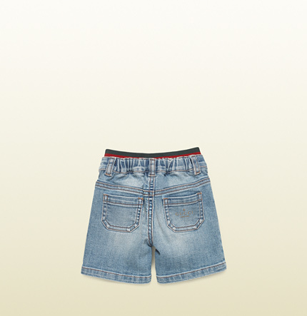 Gucci Baby Stone Washed Denim Bermuda Short