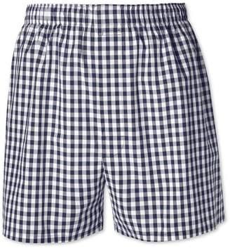 Charles Tyrwhitt Navy Gingham Woven Boxers Size Medium