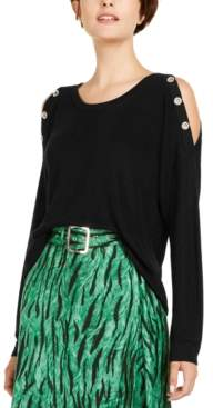 INC International Concepts I.n.c. Grommet Cold-Shoulder Sweater, Created for Macy's