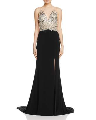 Jovani Fashions Embellished-Bodice Gown