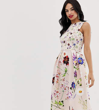 True Violet exclusive skater midi dress in floral print