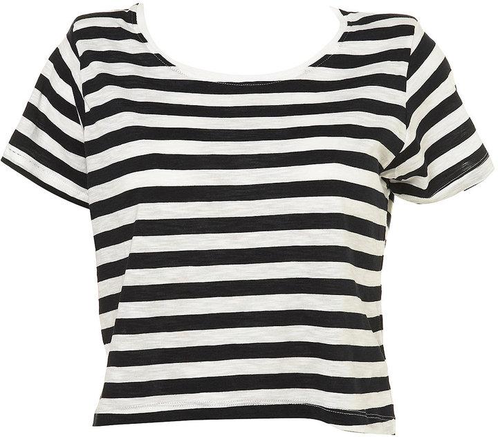 Stripe Shoulder Crop Top