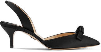 Paul Andrew Rhea Knotted Satin Slingback Pumps - Black