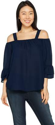 Laurie Felt Woven Blouse with Cut Out Detail