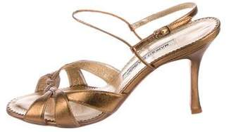 Manolo Blahnik Metallic Ankle Strap Sandals