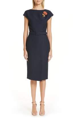Oscar de la Renta Flower Brooch Belted Wool & Silk Midi Dress