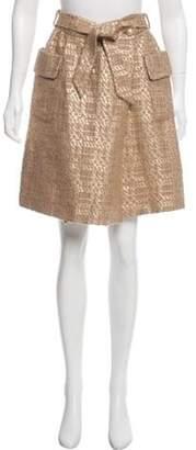 Barneys New York Barney's New York Tweed Metallic Skirt Gold Barney's New York Tweed Metallic Skirt
