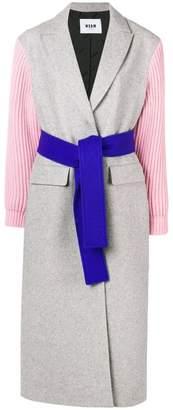 MSGM contrasting belted coat