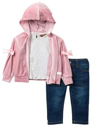 7 For All Mankind Velvet Hoodie 3-Piece Set (Baby Girls)
