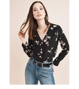 Dynamite Long Sleeve V-Neck Button Front Blouse Black W/Pink Floral