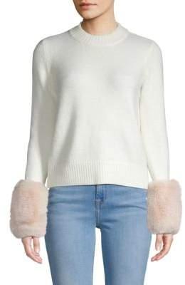 Saks Fifth Avenue Faux Fur Cuff Crew Sweater