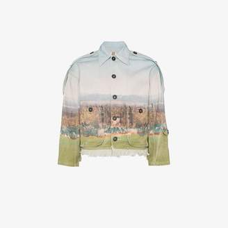 Nounion cactus print epaulette denim jacket