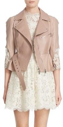 Women's Alexander Mcqueen Crop Lambskin Leather Jacket $4,575 thestylecure.com