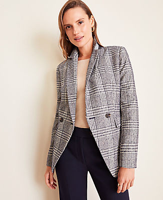 Ann Taylor Petite Plaid Long Double Breasted Blazer