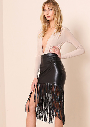 Missy Empire Zoey Black PU Leather Tassel Mini Skirt