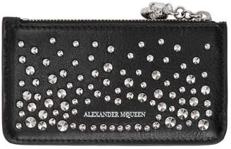 Alexander McQueen Black Studded Zip Card Holder