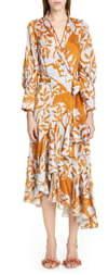 Johanna Ortiz Jaguar Silhouette Asymmetrical Georgette Wrap Dress