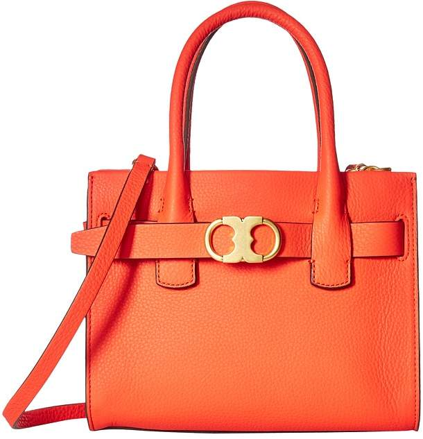 Tory Burch Gemini Link Leather Small Tote Tote Handbags - SPICY ORANGE - STYLE