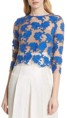 Tracy Reese Sheer Embroidered Floral Top