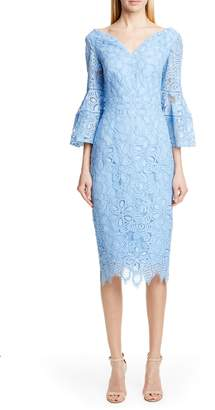 Lela Rose Portrait Neck Lace Midi Dress