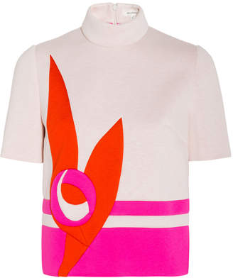 DELPOZO Neoprene Short Sleeve Pattern Top