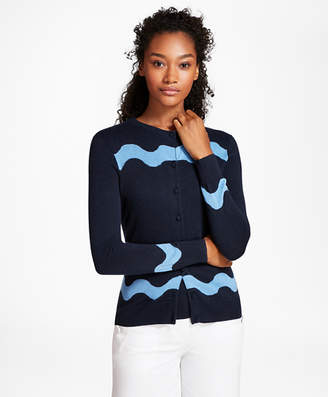 Brooks Brothers Wave-Pattern Silk-Cashmere Cardigan