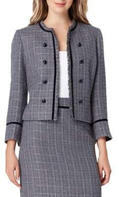Tahari Arthur S. Levine Metallic Fringe Tweed Jacket