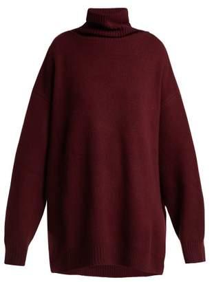 Raey Displaced Sleeve Roll Neck Wool Sweater - Womens - Burgundy