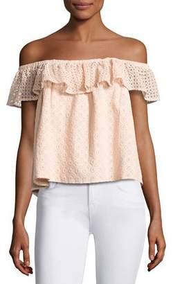 Rebecca Minkoff Celestine Off-the-Shoulder Lace Top, Pink