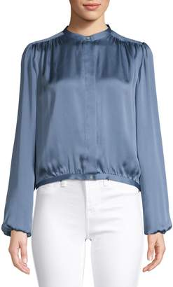 Theory Long-Sleeve Silk Blouse