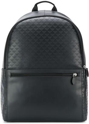 Emporio Armani embossed eagle logo backpack