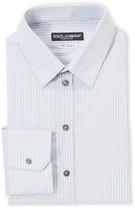 Dolce & Gabbana Blue Striped Sicilia Fit Dress Shirt