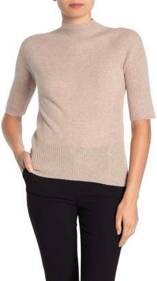 Magaschoni M Elbow Sleeve Jersey Mock Neck Cashmere Pullover