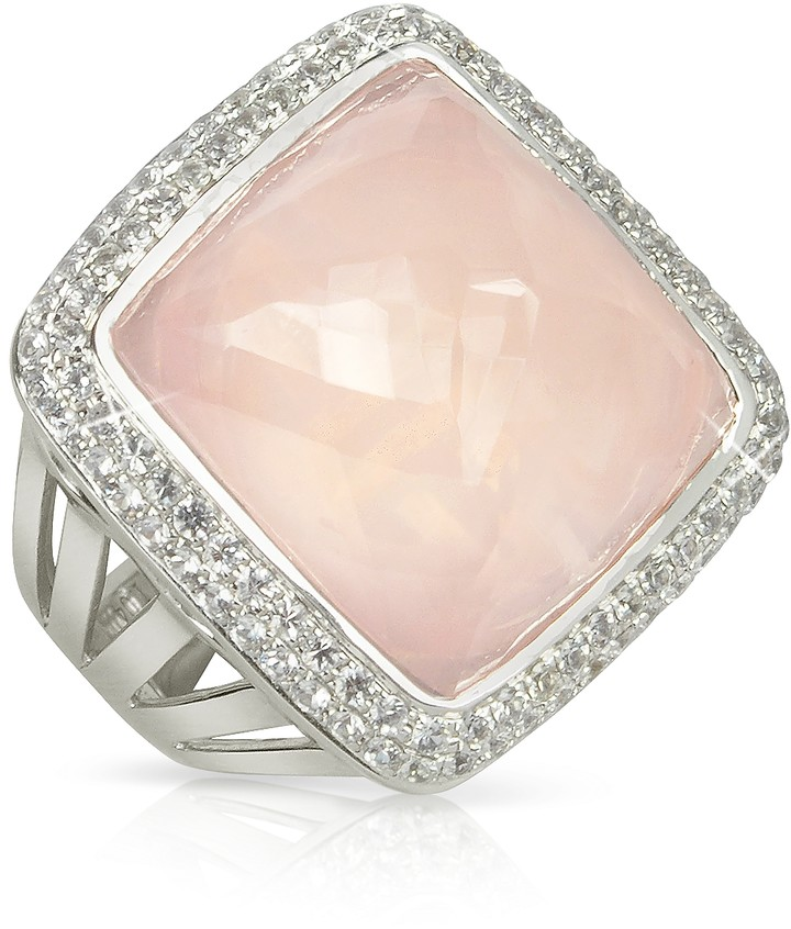 Sho London 18K Gold V-Seal Rose Quartz Victoria Ring