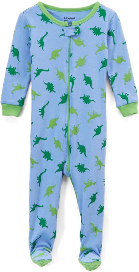 Light Blue Dino Footie Pajamas - Infant