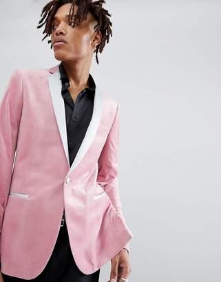 Asos Design DESIGN super skinny blazer in dusky pink velvet
