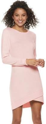 Almost Famous Juniors' Crossover-Hem Sweater Dress
