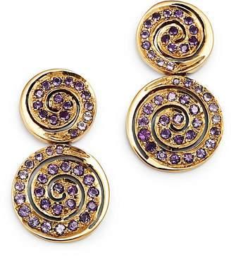 SheBee 14K Yellow Gold Amethyst Spiral Drop Earrings