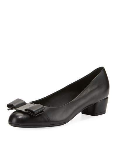 Salvatore Ferragamo Napa Leather Vara Bow Pump, Nero